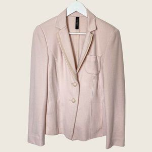 Marc Cain Pale Pink Wool Cashmere Single Button Tailored Blazer